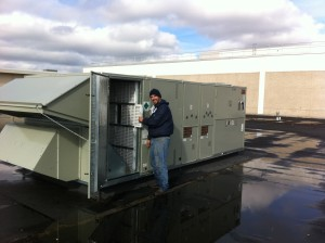 New roof top unit for Shoe Show at the Boulevard Mall.