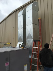 Commercial HVAC equipment outdoor progress view 2.
