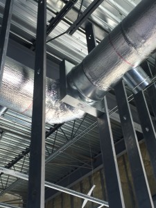 New interior duct work progress at Finger Lakes Crossing